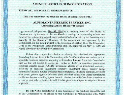 Amendment-Articles of Incorporation