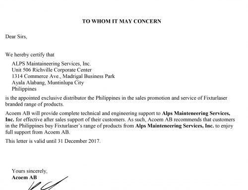 ACOEM Exclusive Distributor Certificate